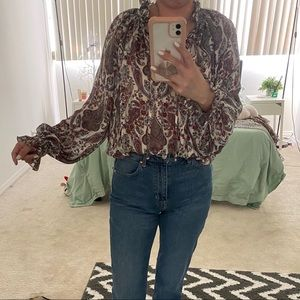 Chiffon bell sleeves paisley print blouse S